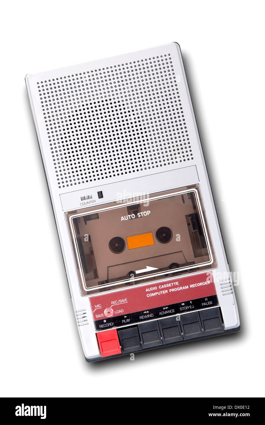 Old Cassette Tape player and recorder on a white background. - Stock Image
