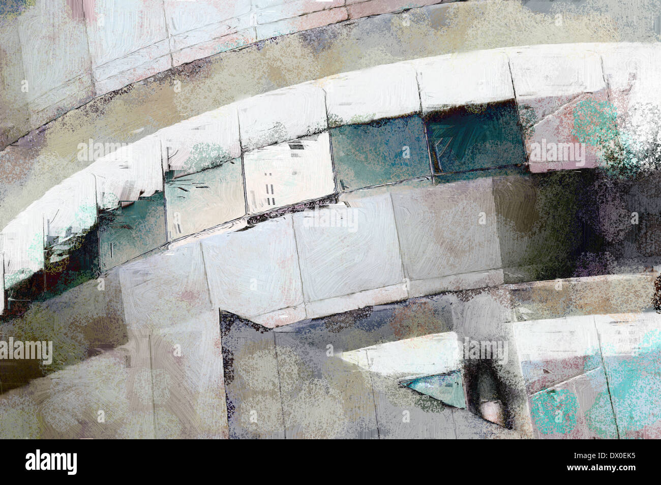 Abstract Painting Of Modern Architecture Detail With Grunge