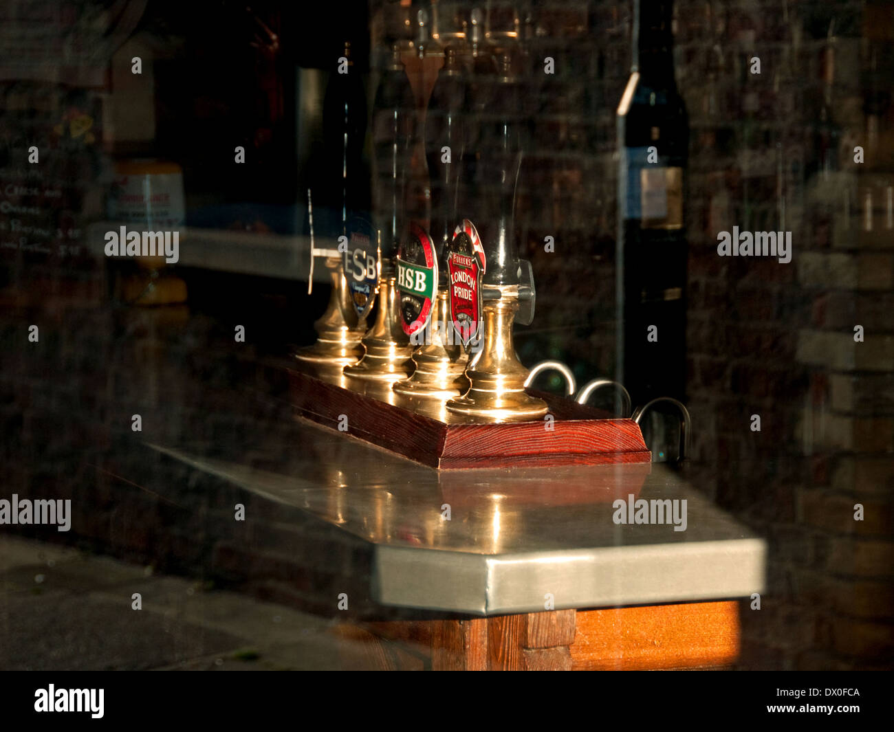 Bar with beer hand pumps - Stock Image
