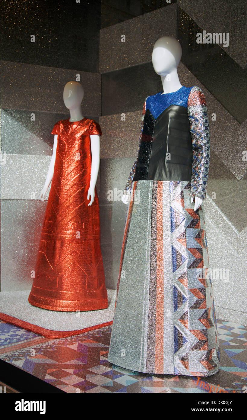 An image of high fashion mannequins in Selfridges shop window, London, UK. - Stock Image