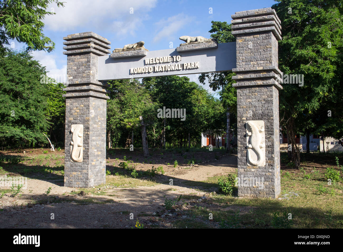 Entrance, Komodo National Park, UNESCO World Heritage Site, Komodo, Indonesia, Southeast Asia Stock Photo