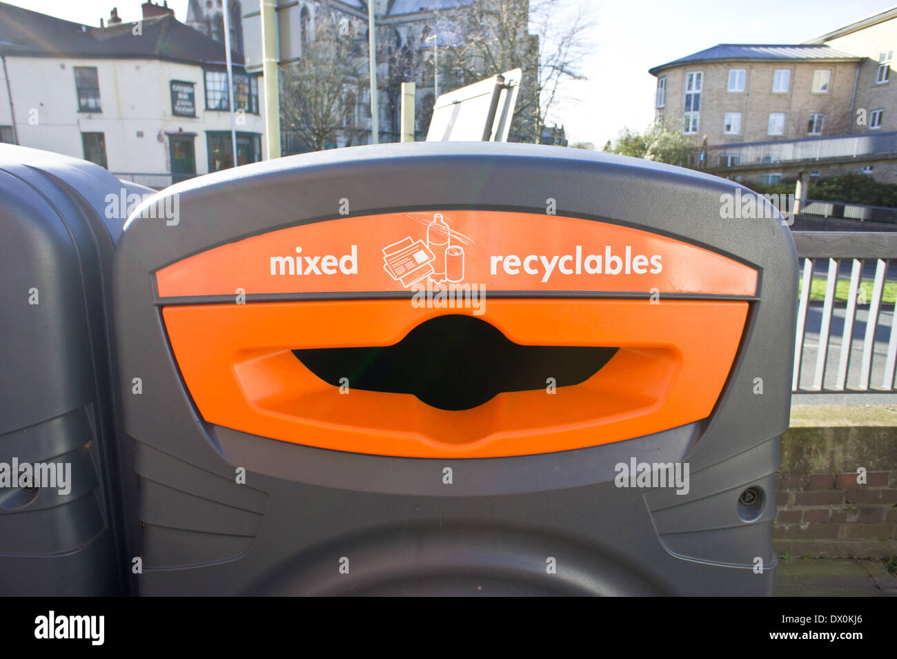 Mixed recycling bin in a UK town centre Stock Photo
