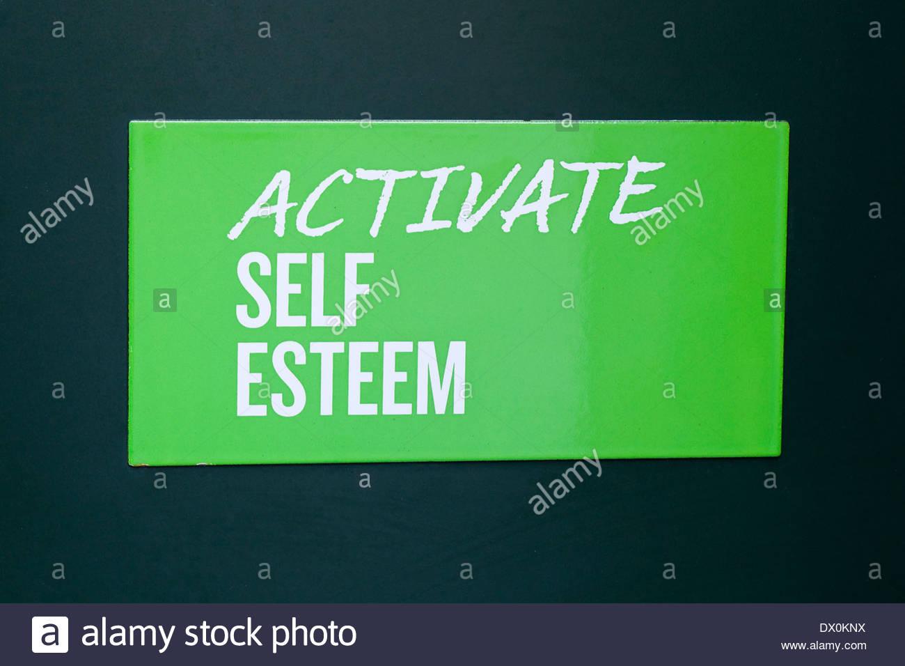 Plaque Promoting self Esteem in London - Stock Image