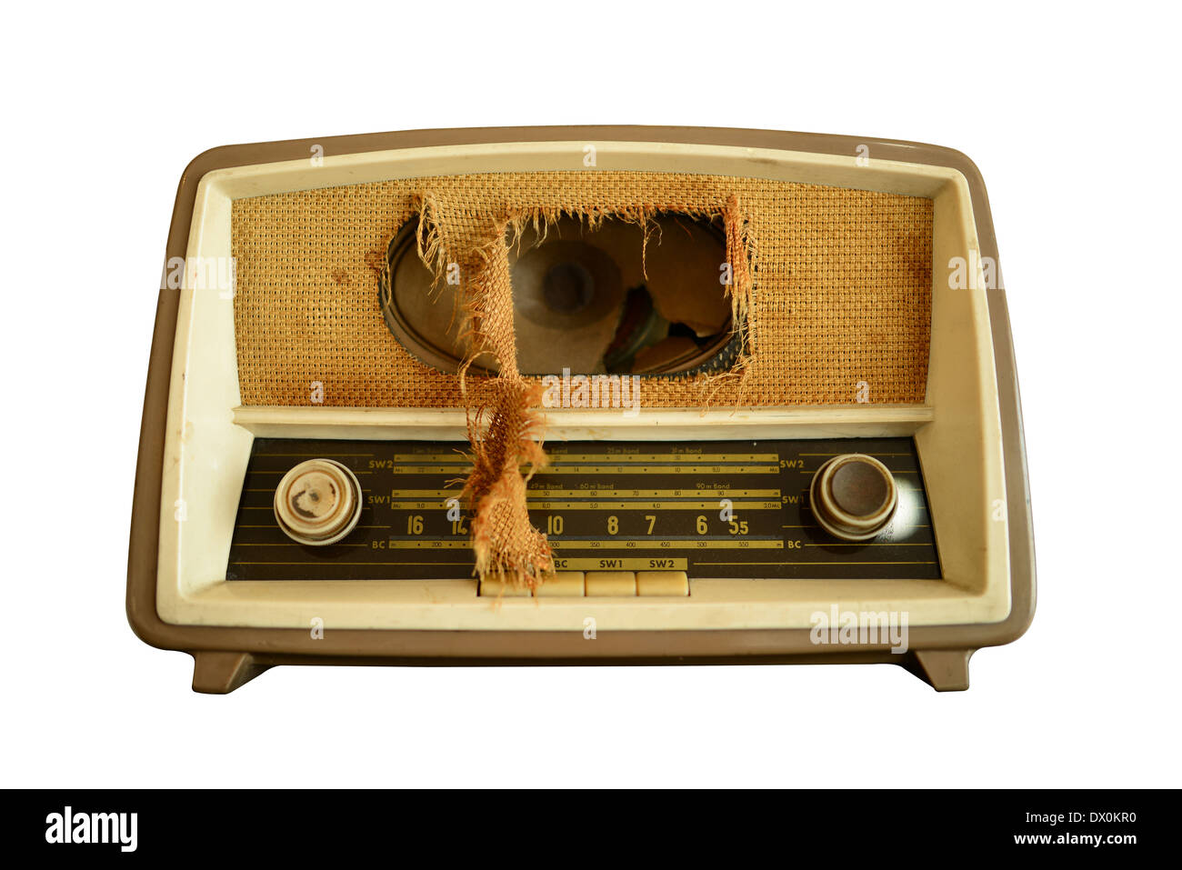 Vintage radio clipping path Stock Photo