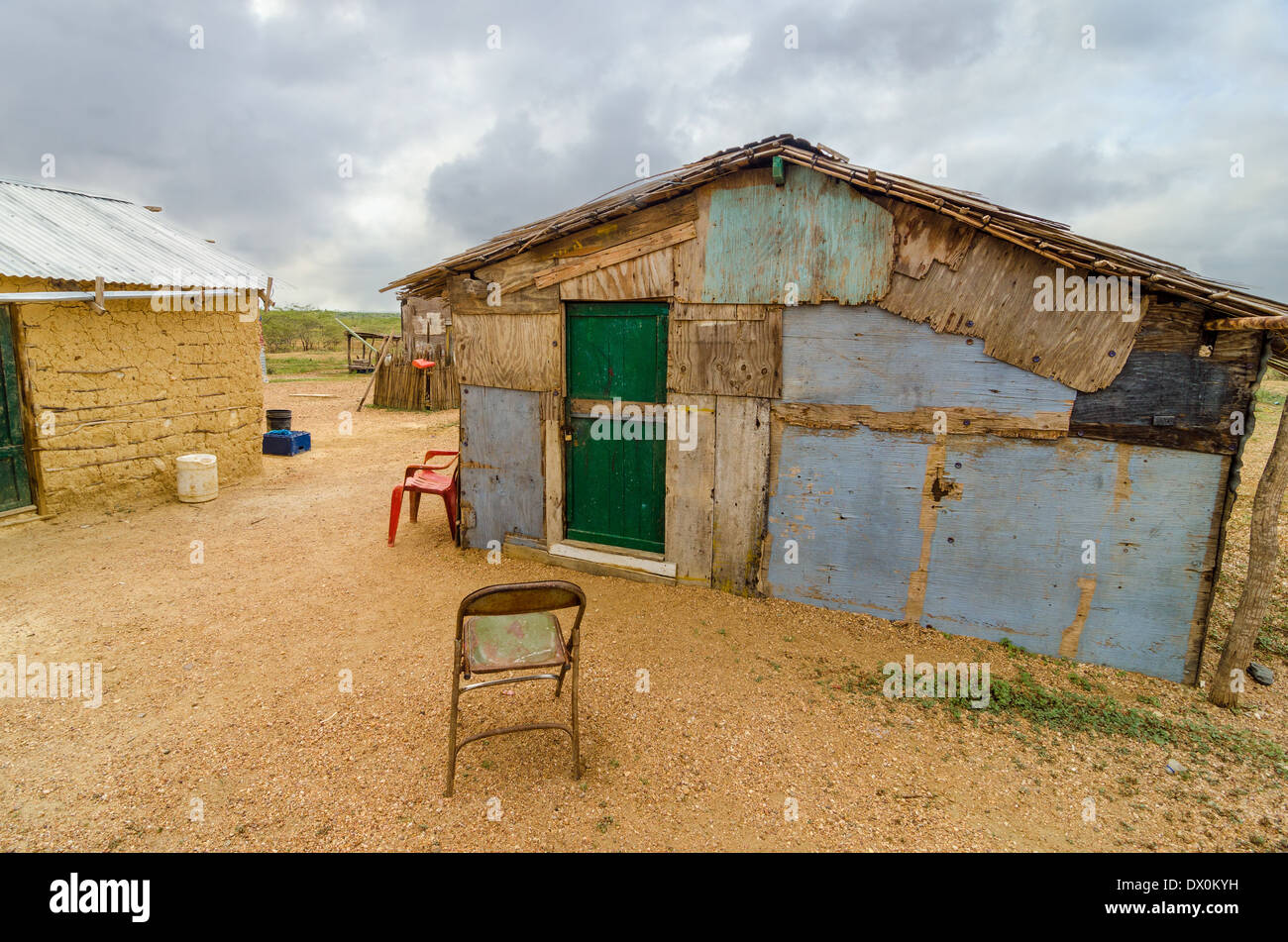Wooden shack in a rural part of La Guajira, Colombia - Stock Image