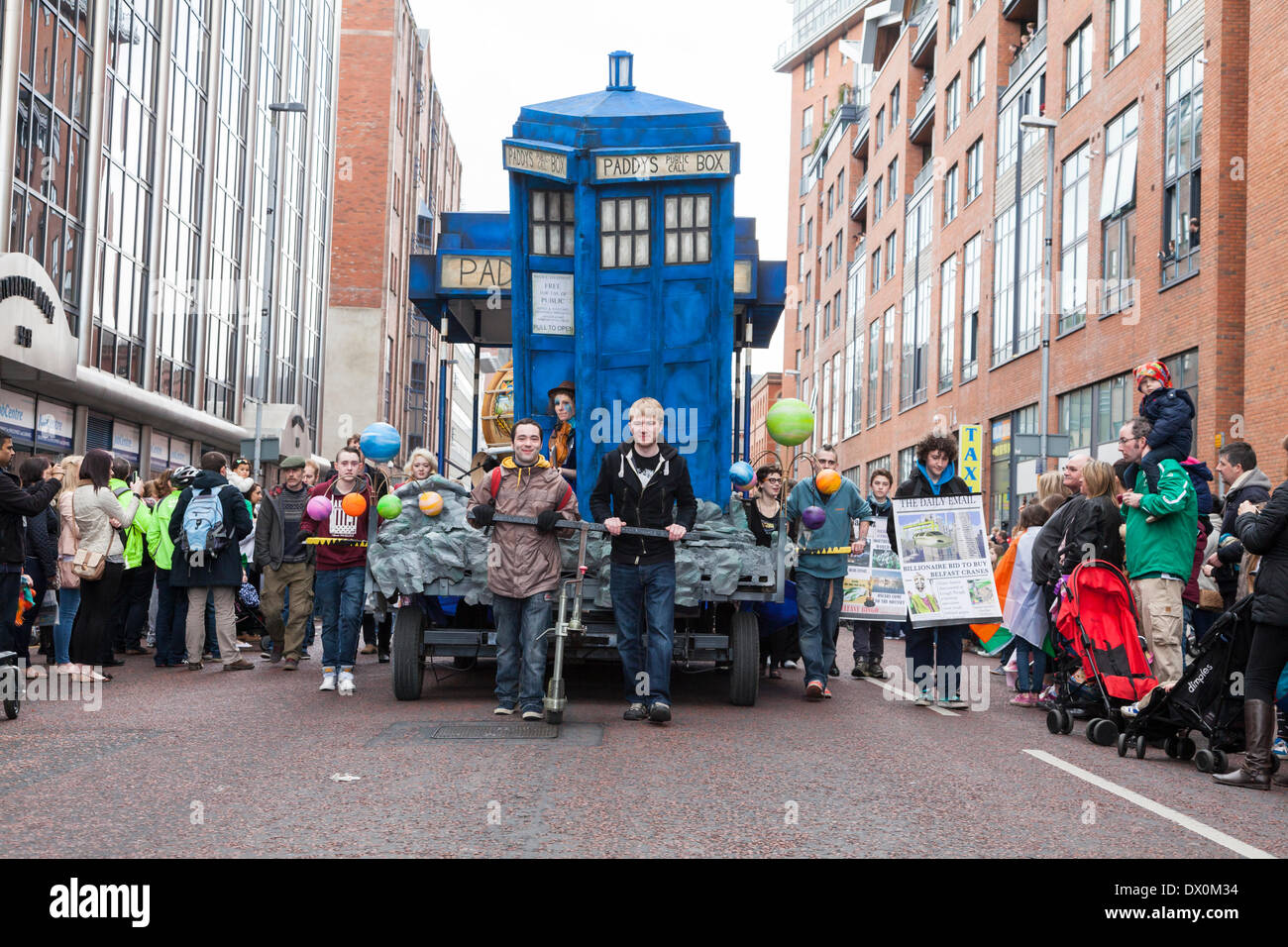 Belfast, Northern Ireland. 16th March 2014. The TARDIS in the parade Credit:  J Orr/Alamy Live News - Stock Image