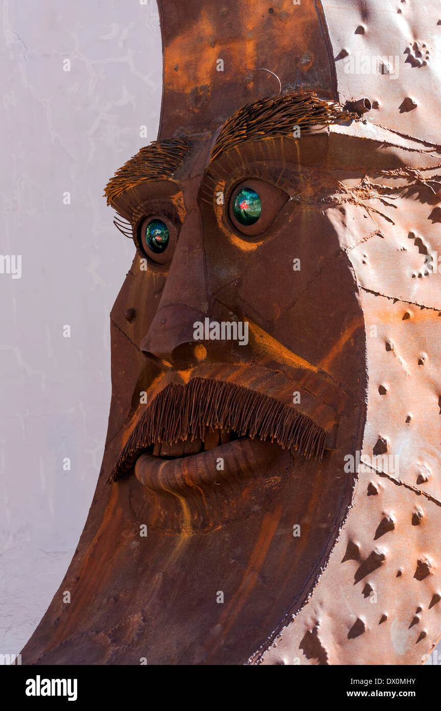 Ted Crom's whimsical take on bushy eyebrows and a very bristly mustache, a part of a larger steel sculpture titled Luna. - Stock Image
