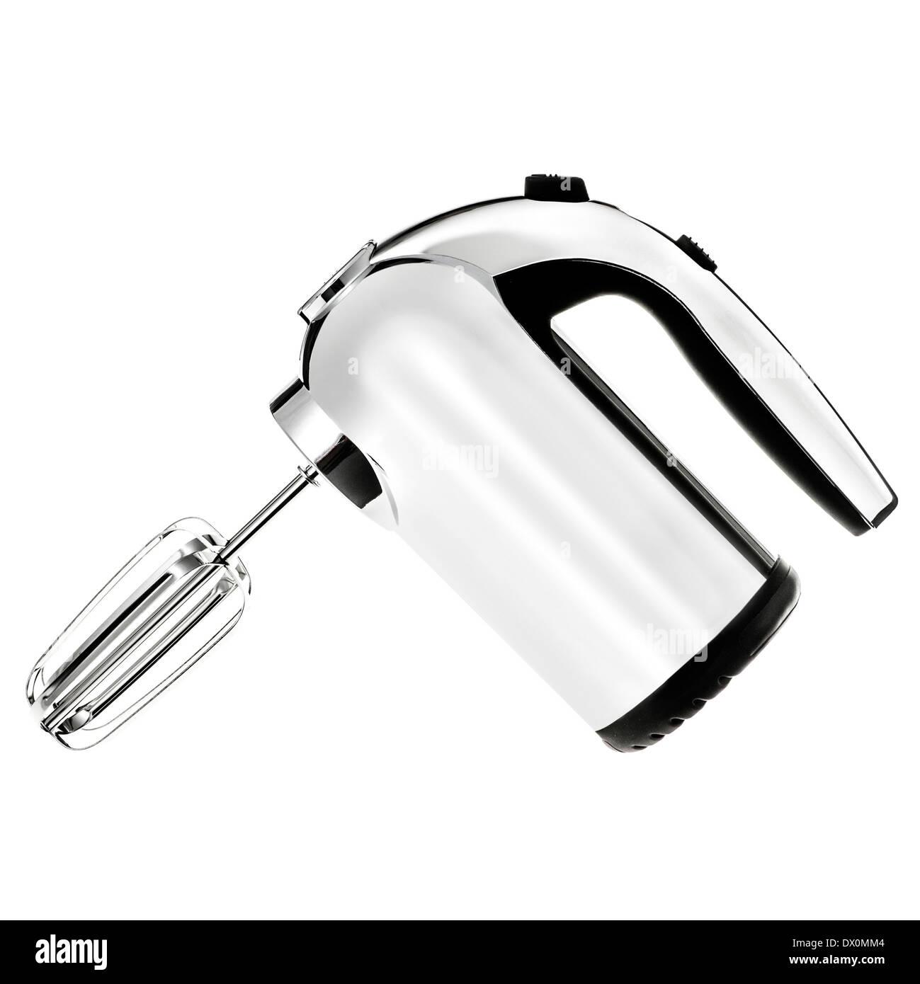 Modern shiny silver metallic electric hand mixer on white background - Stock Image