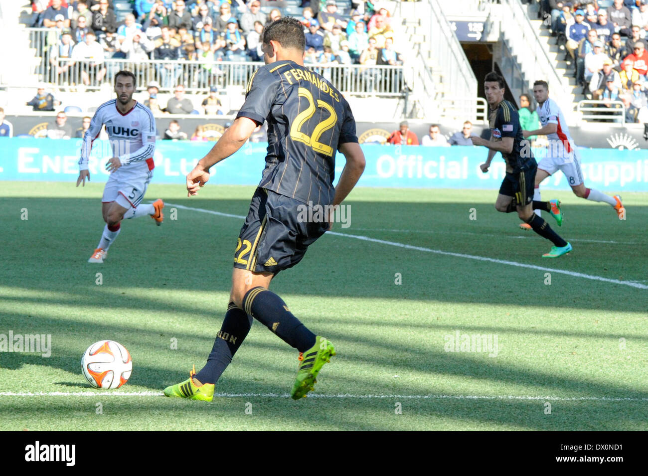 Brazilian international Leo Fernandes sets up frenchman Sebastian LeToux goal during a soccer / football match with the New England Revolution at Talen Energy Stadium in Chester PA United States of America during a sunny fall / autumn day outside of Philadelphia - Stock Image