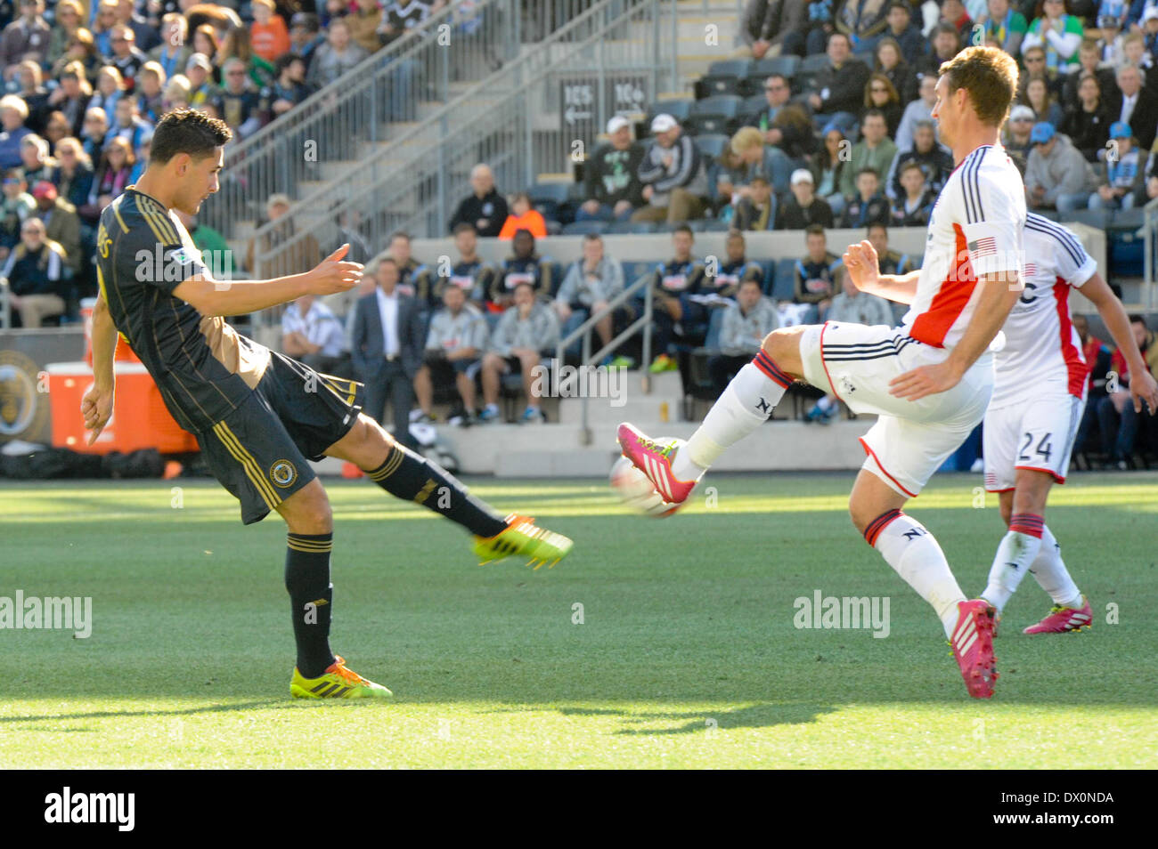 Brazilian international and Philadelphia Union soccer / football midfielder Leo Fernandes srikes the ball during a match with the New England Revolution at Talen Energy Stadium in Chester PA United States of America during a sunny fall / autumn day outside of Philadelphia - Stock Image