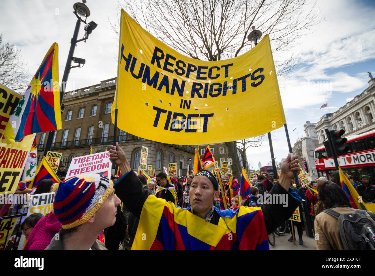 Annual Tibet protest march for Freedom from Chinese occupation in London Stock Photo