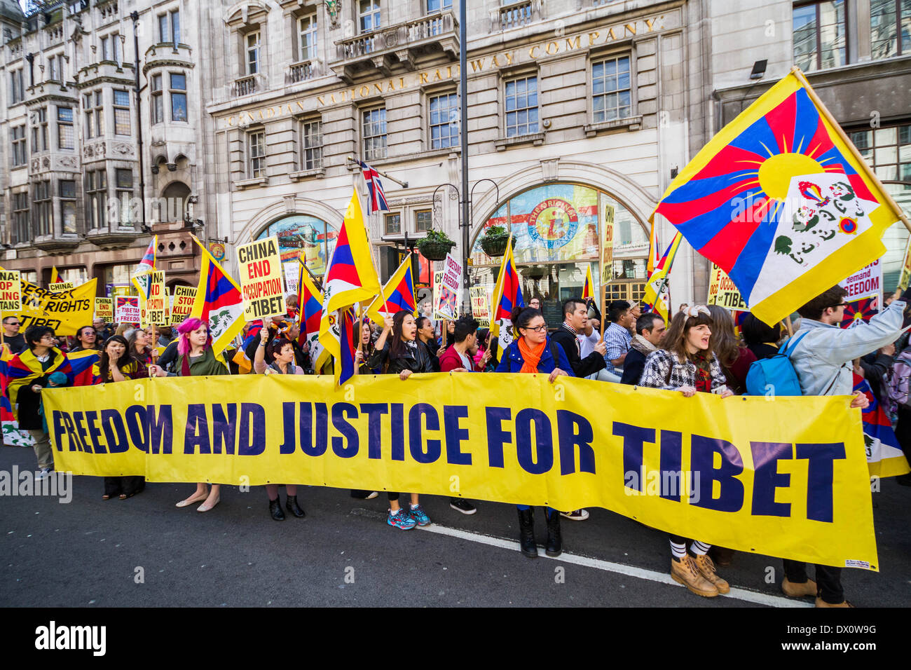 Annual Tibet protest march for Freedom from Chinese occupation in London - Stock Image