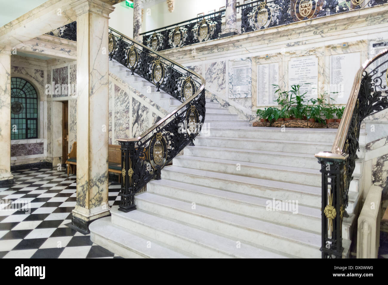 Stockport town hall Marble staircase - Stock Image