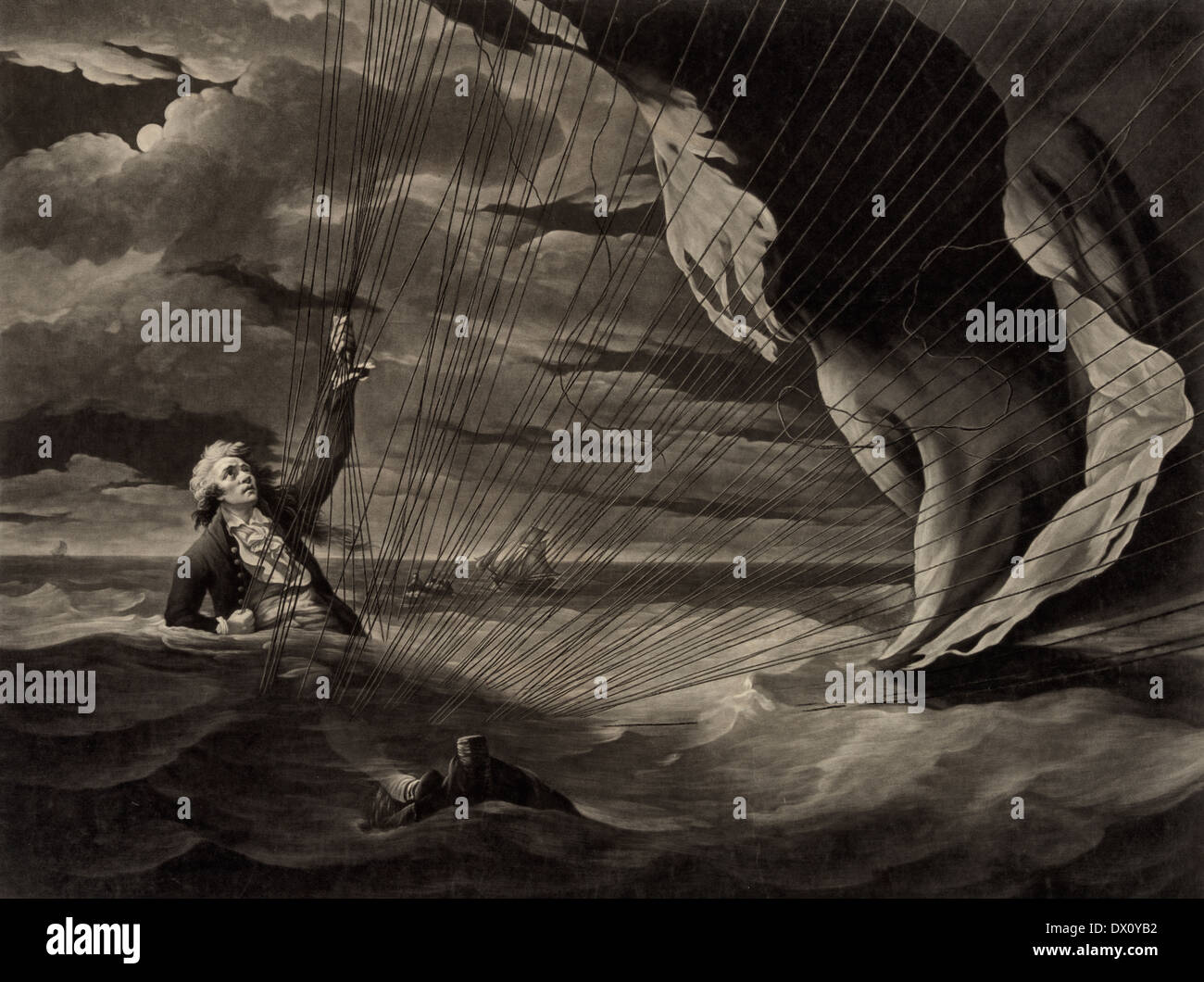 The perilous situation of Major Mony [Money], when he fell into the sea with his balloon on the 23rd of July, 1785, off the coast of Yarmouth ... - Stock Image