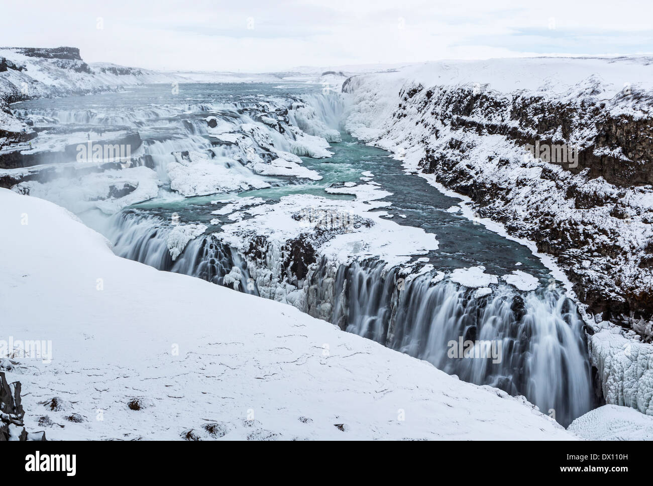 The two steps of Gullfoss form a half frozen triangle in the winter in Western Iceland - Stock Image