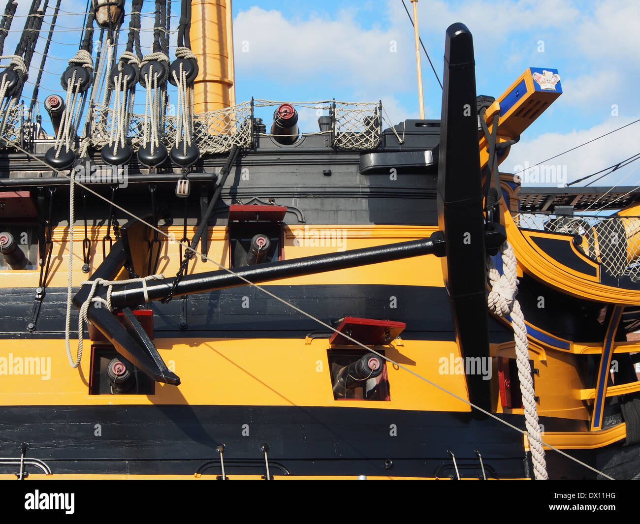 The Starboard side anchor of HMS victory in Portsmouth historic dockyard Stock Photo