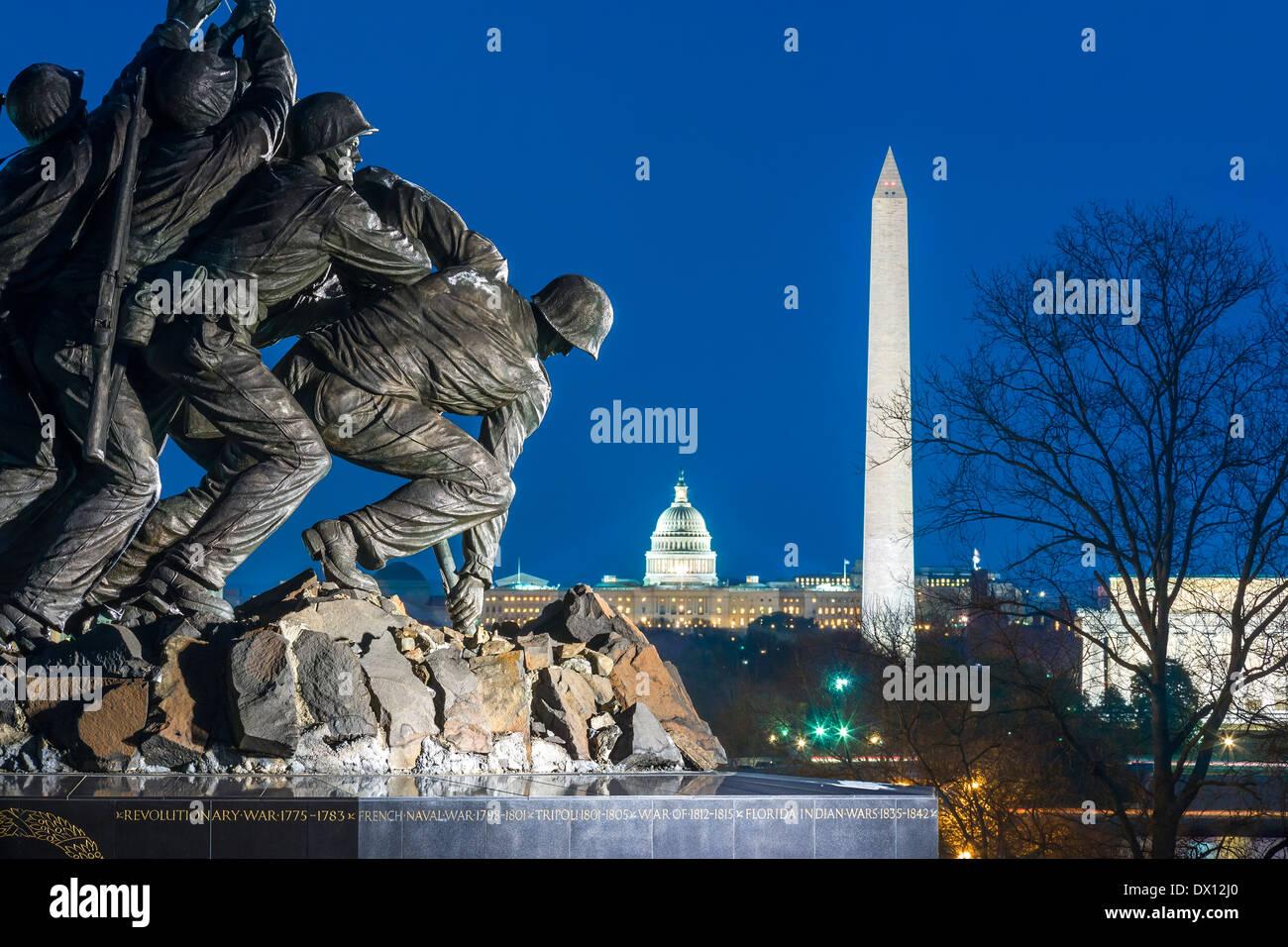 Arlington US Marine Corps War Memorial Washington DC skyline Washington Monument US Capitol Building Lincoln Memorial Mall - Stock Image