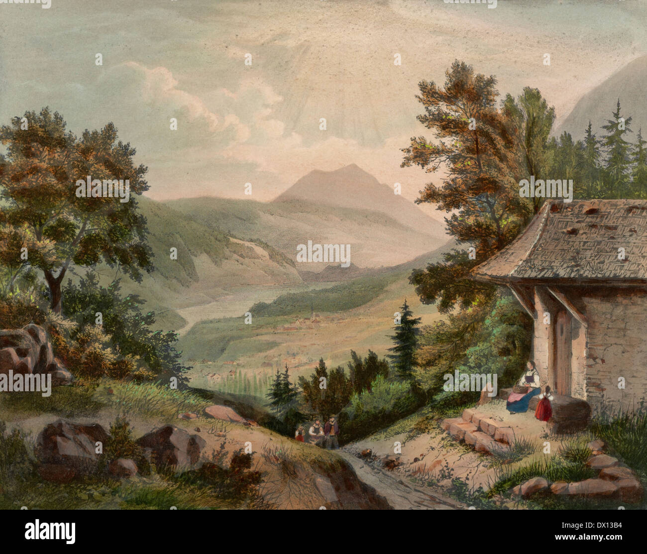 Mount Pilatus seen from Bruning, Switzerland, circa 1900 - Stock Image