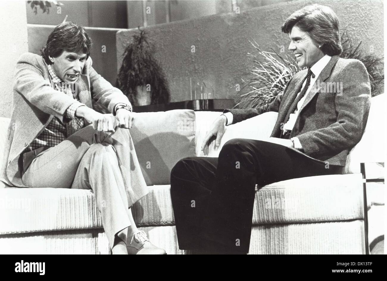 DAVID BRENNER (February 4, 1936 - March 15, 2014) was an American stand-up comedian, actor and author. The most frequent guest on The Tonight Show Starring Johnny Carson in the 1970s and 1980s, Brenner was a pioneer in the genre of observational comedy. PICTURED: JOHN DAVIDSON with DAVID BRENNER on 'The John Davidson Show'. (Credit Image: © Globe Photos/ZUMAPRESS.com) - Stock Image