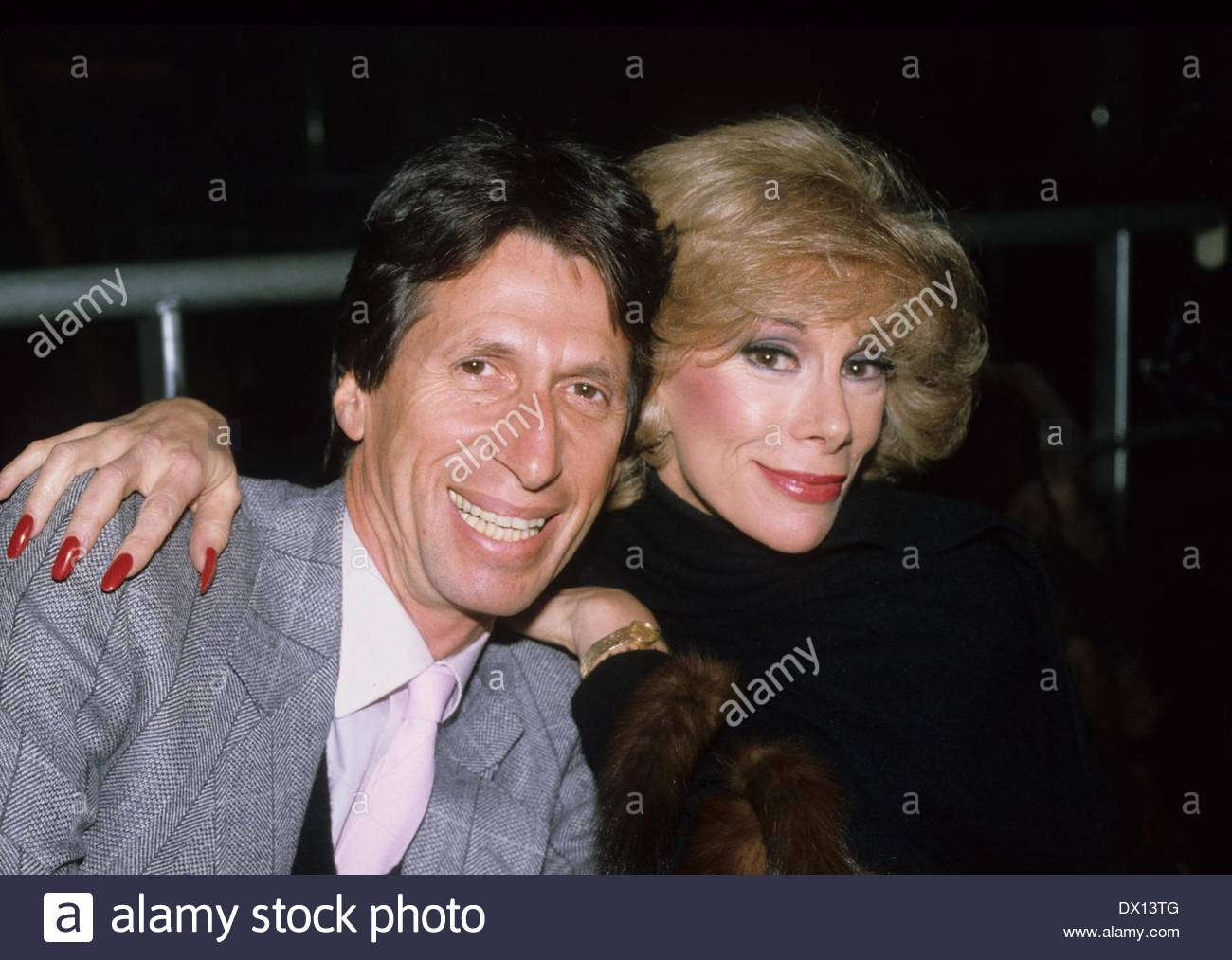 DAVID BRENNER (February 4, 1936 - March 15, 2014) was an American stand-up comedian, actor and author. The most frequent guest on The Tonight Show Starring Johnny Carson in the 1970s and 1980s, Brenner was a pioneer in the genre of observational comedy. PICTURED: Jun 1, 1982 - Comedians DAVID BRENNER and JOAN RIVERS in 1982. (exact date and place unknown) (Credit Image: © Adam Scull/Globe Photos/ZUMAPRESS.com) (Credit Image: © Adam Scull/Globe Photos/ZUMAPRESS.com) - Stock Image