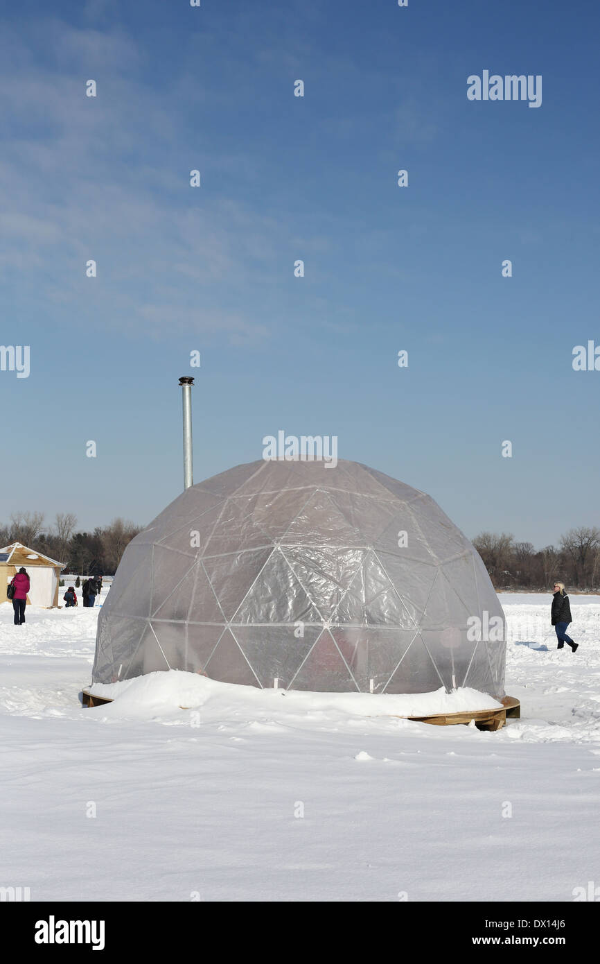 A dome shaped structure at the Art Shanty Projects in White Bear Lake, Minnesota. - Stock Image