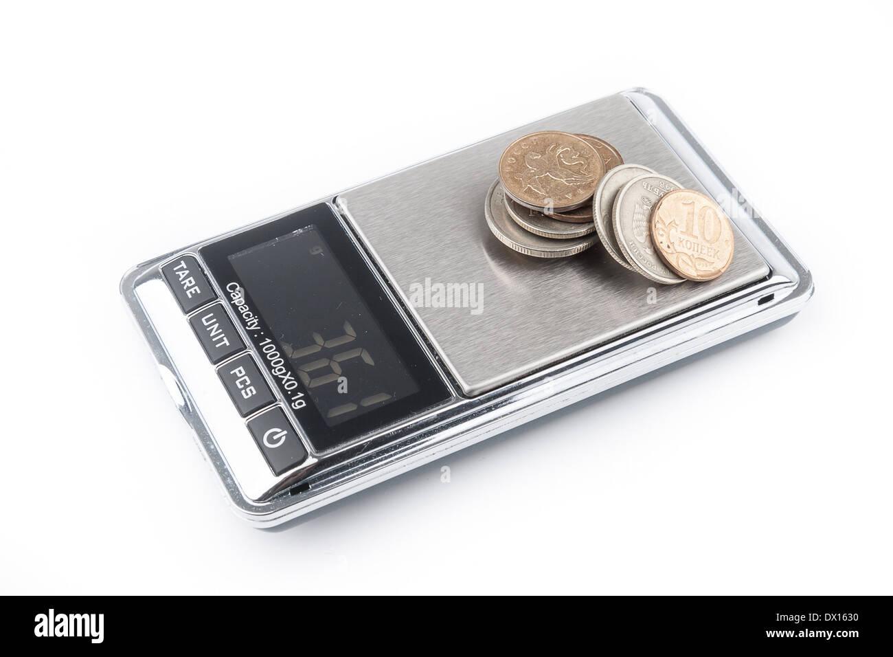 Digital scales isolated on white background - Stock Image