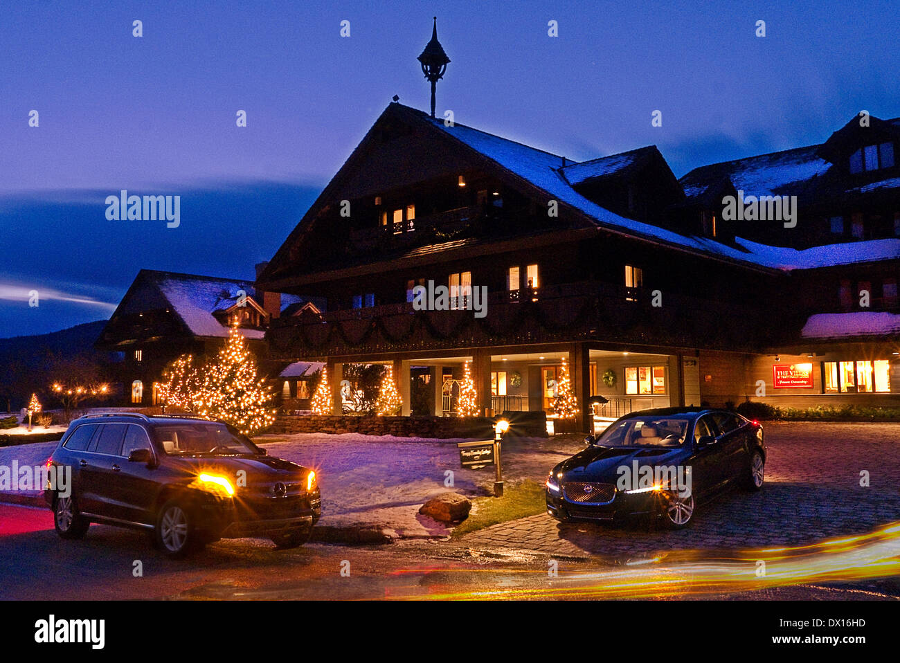 Jaguar XJ AWD & Mercedes Trapp Family Lodge near Stowe Vermont USA - Stock Image