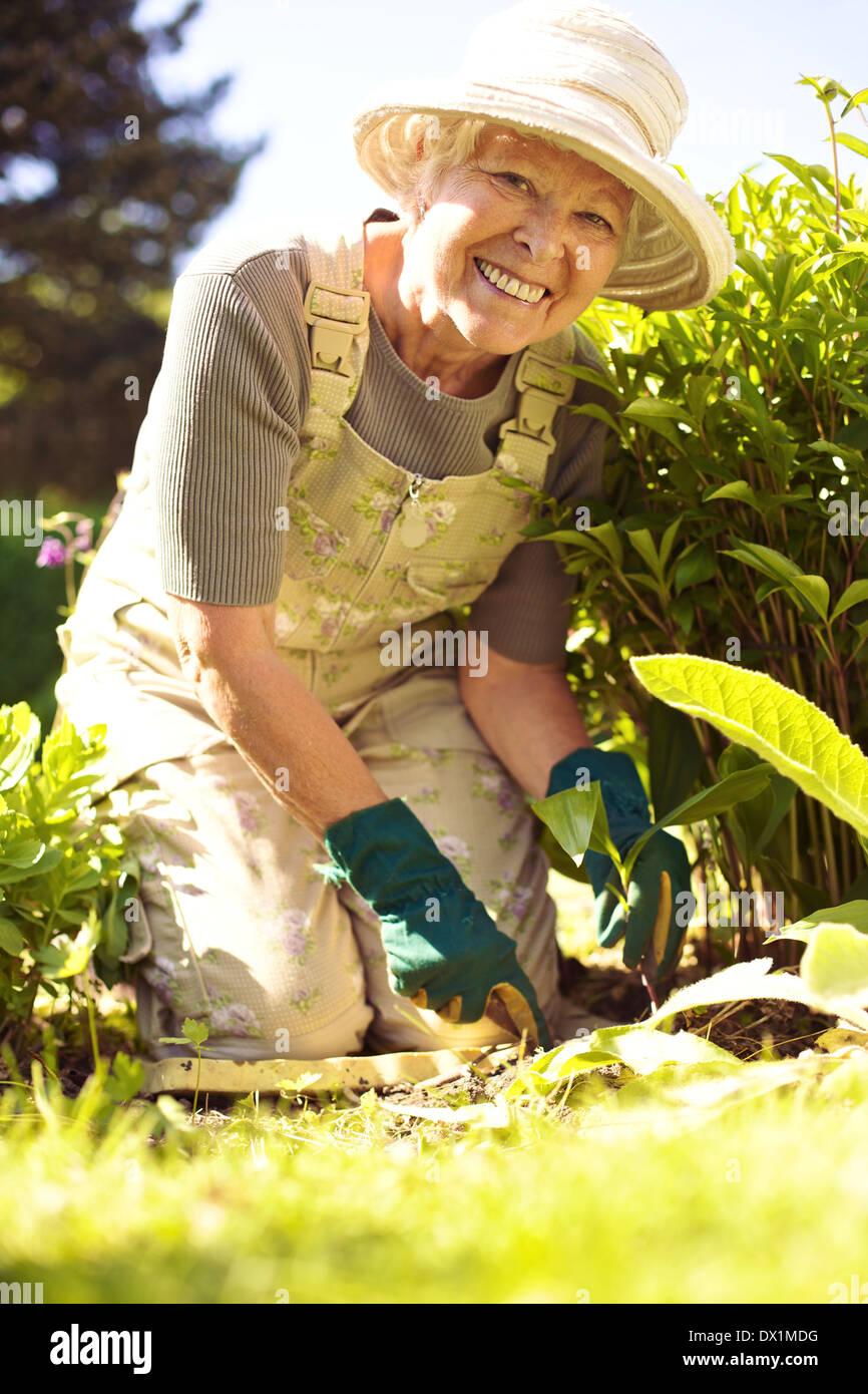 Portrait of happy senior woman planting new flowers in her garden - Stock Image