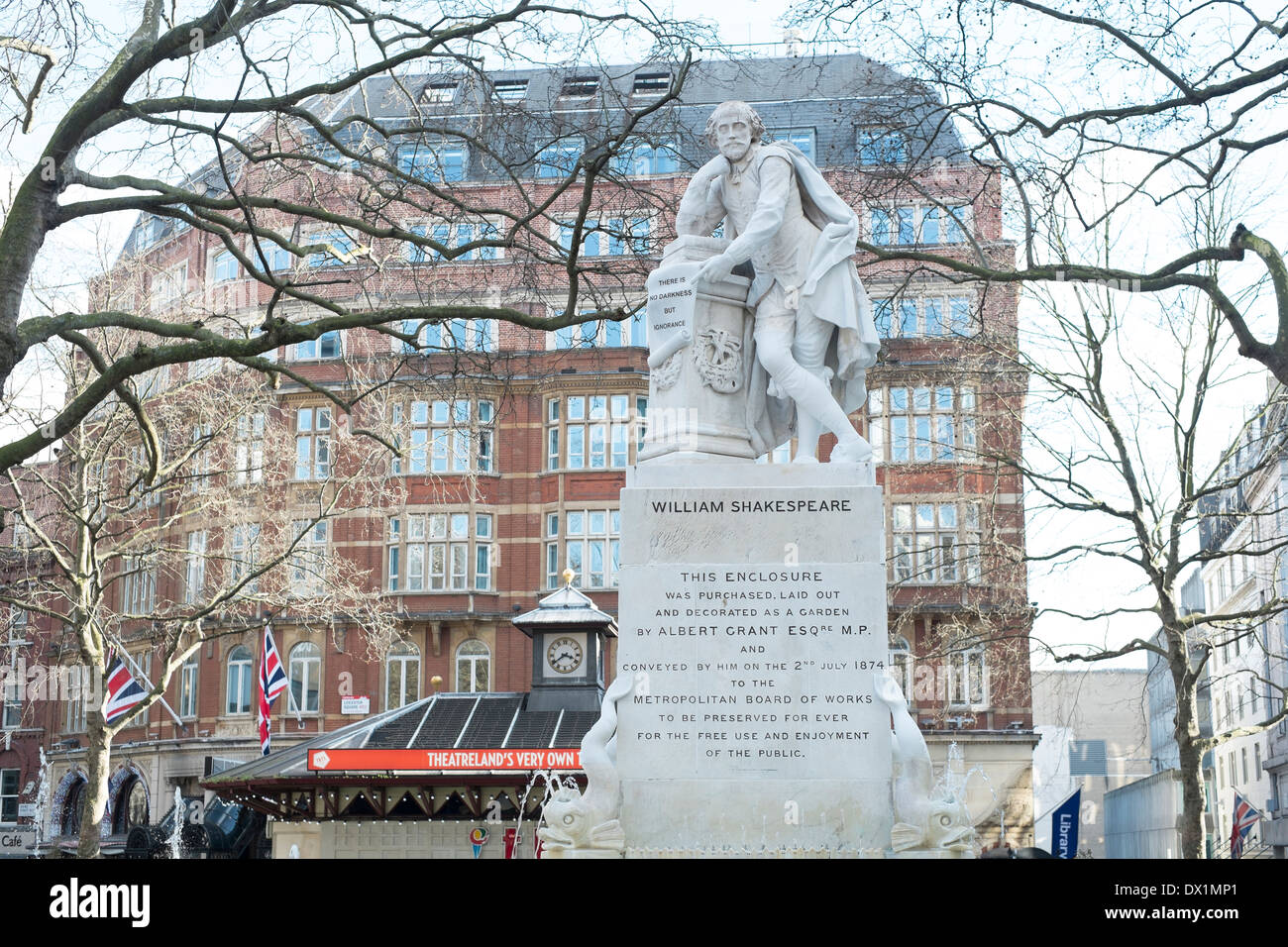 LONDON, UK - MARCH 14: Statue of William Shakespeare in water fountain in Leicester Square. March 01, 2014 in London. - Stock Image