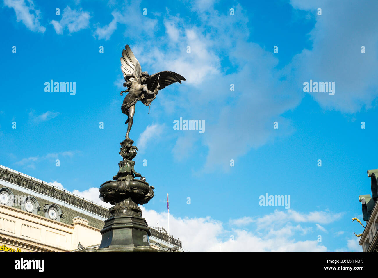 LONDON, UK - MARCH 14: Alfred Gilbert's statue of Eros in Piccadilly Circus. March 01, 2014 in London. - Stock Image