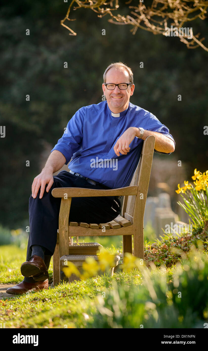 West Sussex, UK. 17 March 2014. The Diocese Chichester announce the appointment the new Bishop of Lewes today 17/03/14. Pictured is Bishop designate of Lewes Richard Jackson at his current church near Bolney West Sussex. Credit:  Jim Holden/Alamy Live News - Stock Image