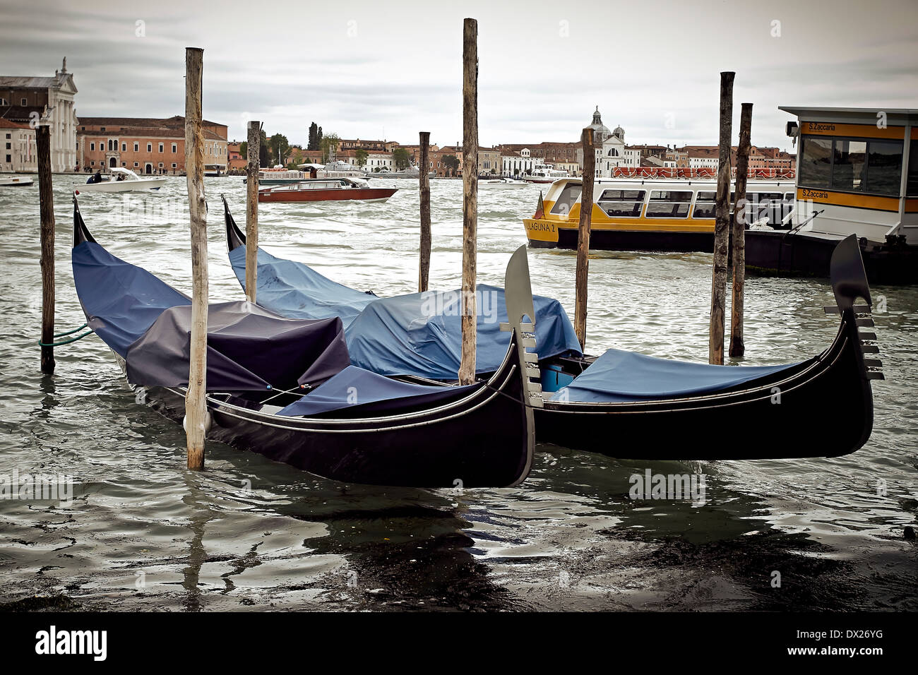 Gondolas moored in the lagoon in Venice, Italy on a gray day. Working boats are in the background. Stock Photo