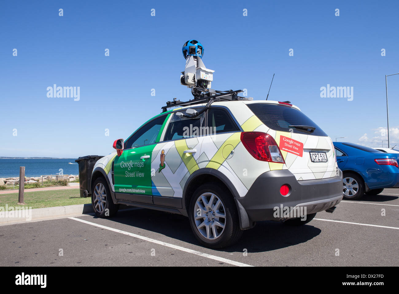 A Google Maps camera car parked by the sea in Sydney Stock ... on google earth camera car, google street view car, maps car with camera,