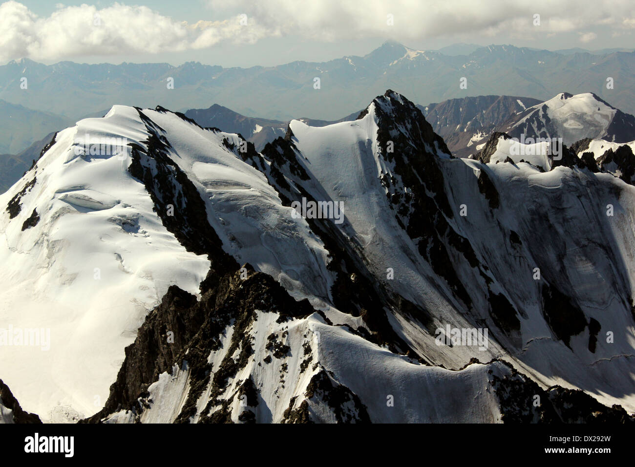 Hanging glaciers in Ala-Archa National Park, Kyrgyz range, Tien-Shan. Kyrgyzstan - Stock Image