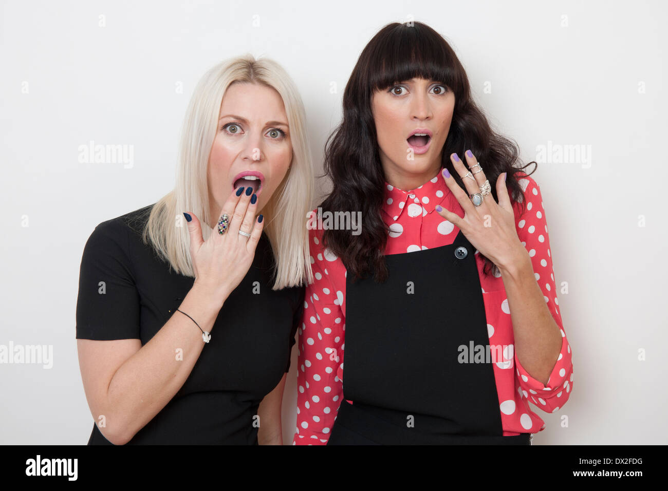 two girls shocked - Stock Image