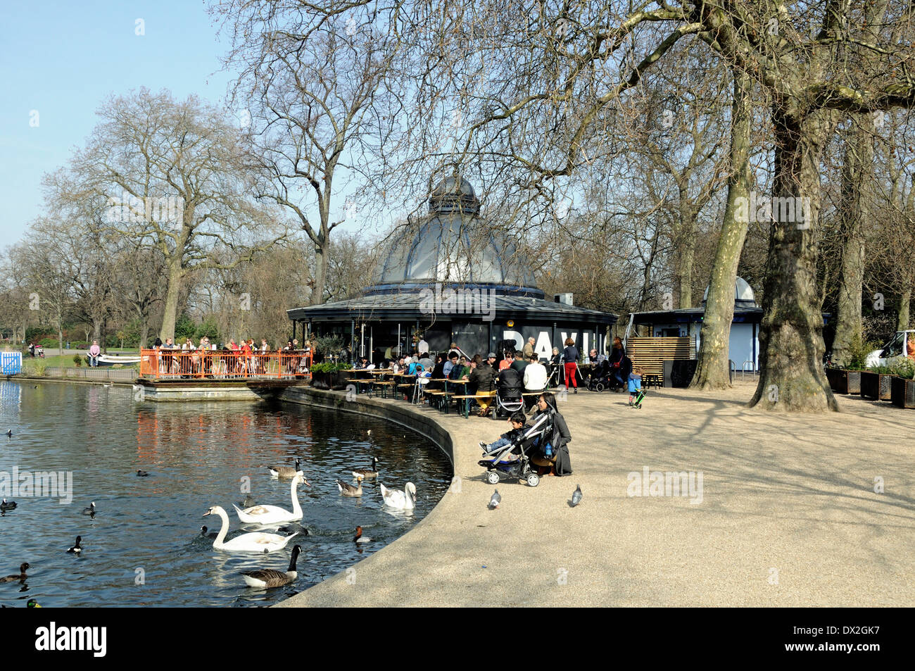 Pavilion Cafe, Victoria Park with people eating outside, London Borough of Tower Hamlets, England UK - Stock Image