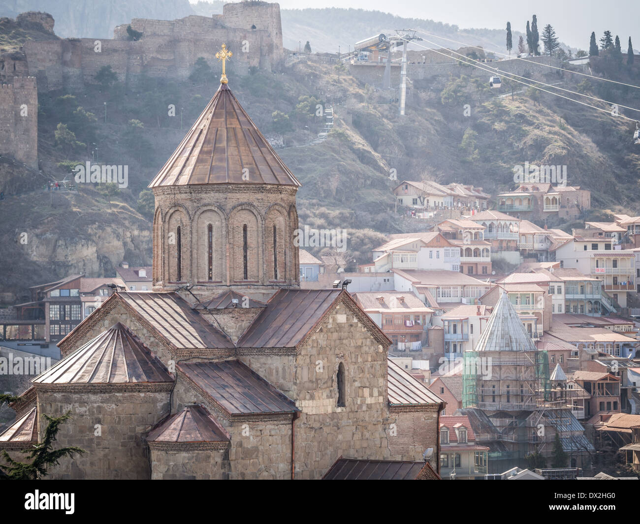 Metekhi church in the old town of Tbilisi, the capital of Georgia. Stock Photo