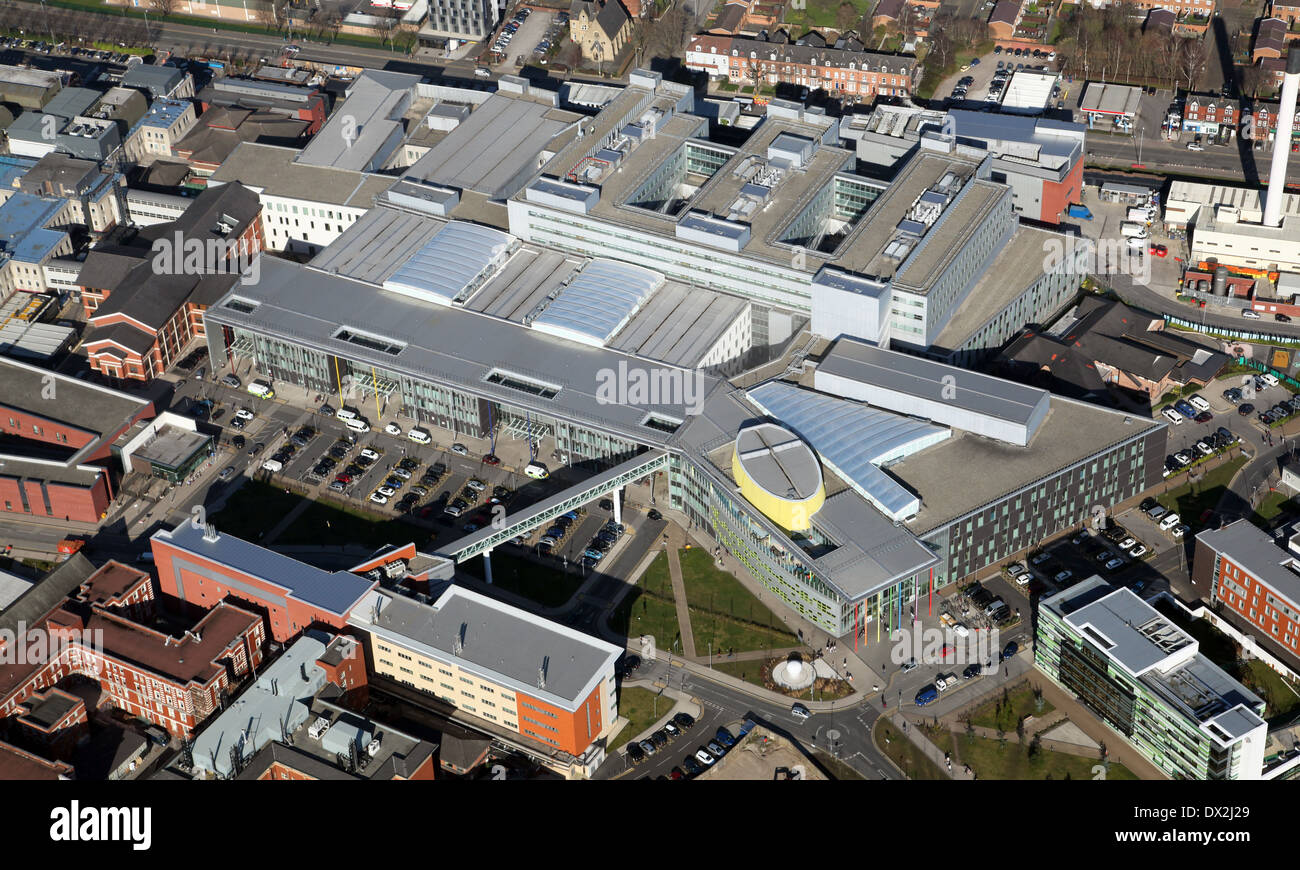 aerial view of Manchester Royal Infirmary hospital - Stock Image