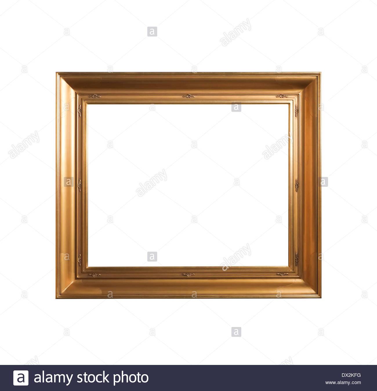 golden vintage frame isolated on white background - Stock Image
