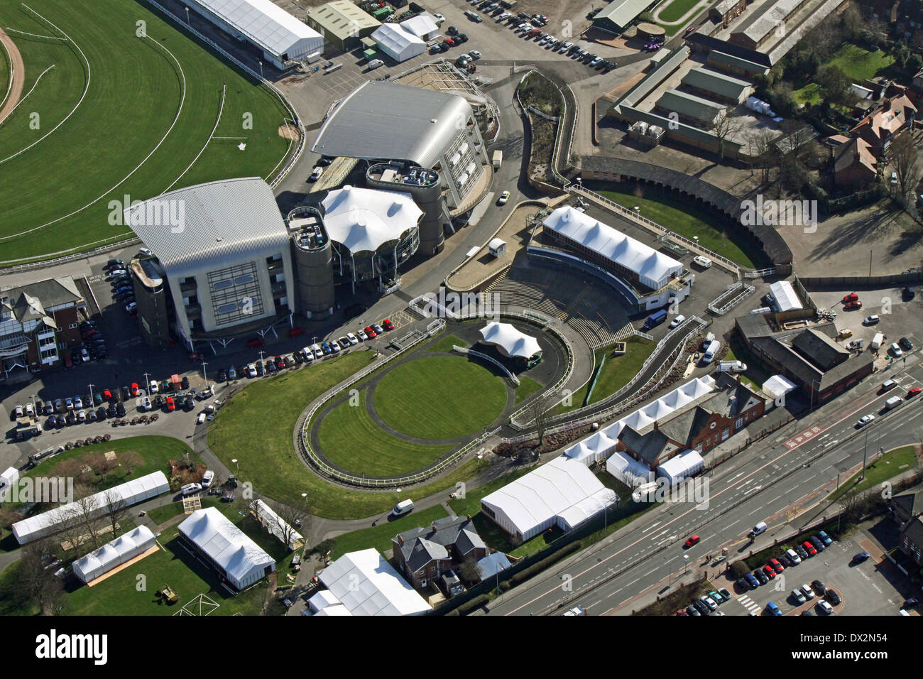 aerial view of Aintree Racecourse in Liverpool, home of the Grand National Stock Photo