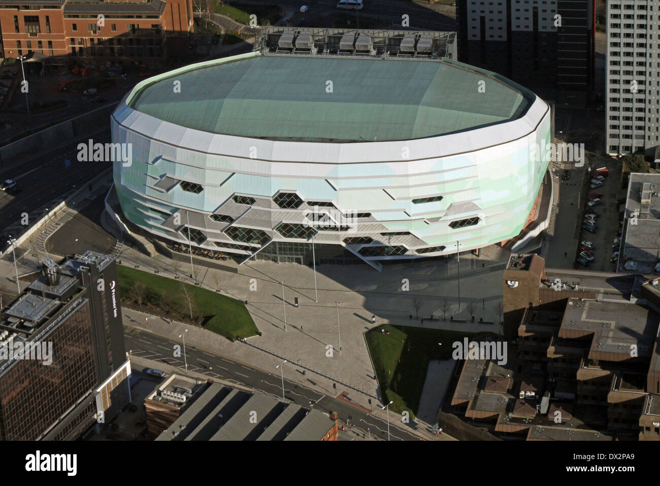 aerial view of the new auditorium Leeds Arena, or First Direct Arena, UK - Stock Image