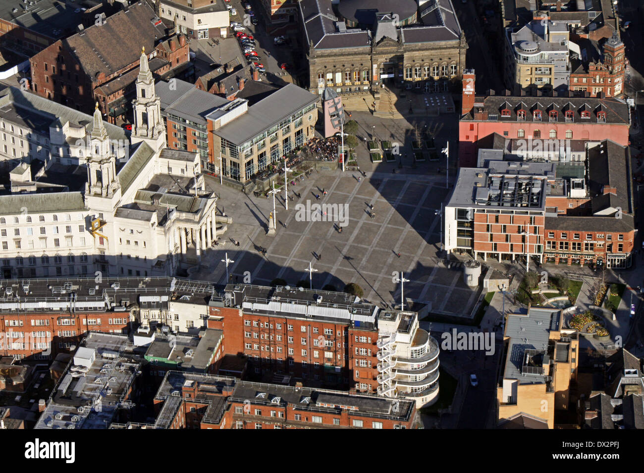 aerial view of Millennium Square in Leeds with Leeds Civic Hall - Stock Image