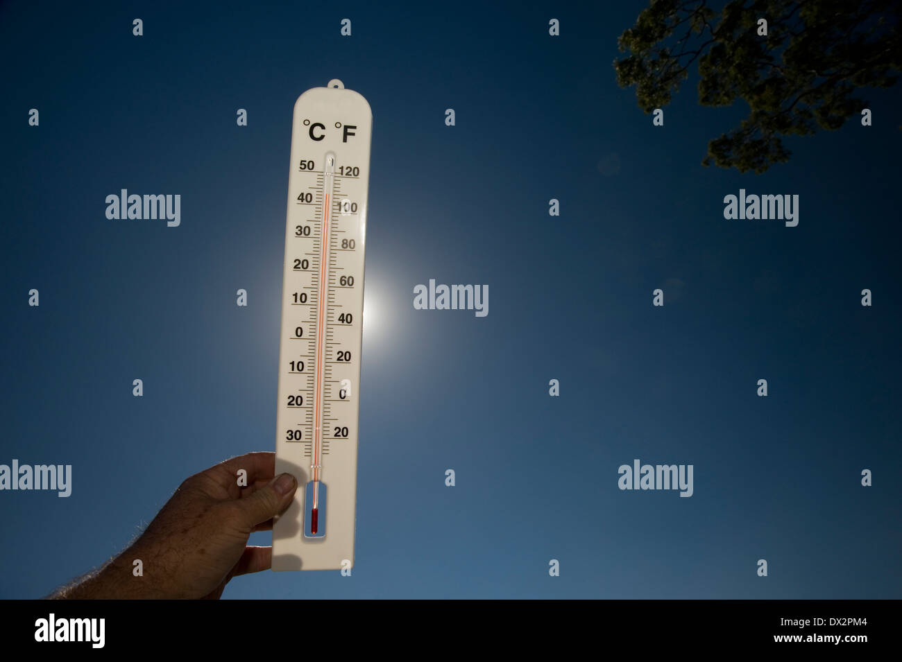 hot day heat sun scorching thermometer 40 degrees - Stock Image