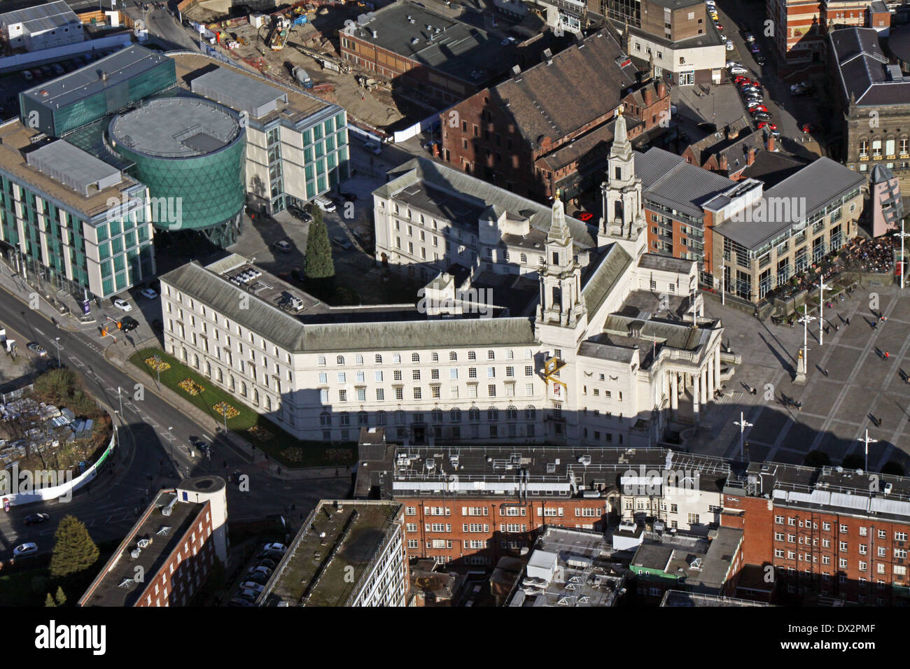 aerial view of Leeds Civic Hall in Millennium Square, Leeds - Stock Image