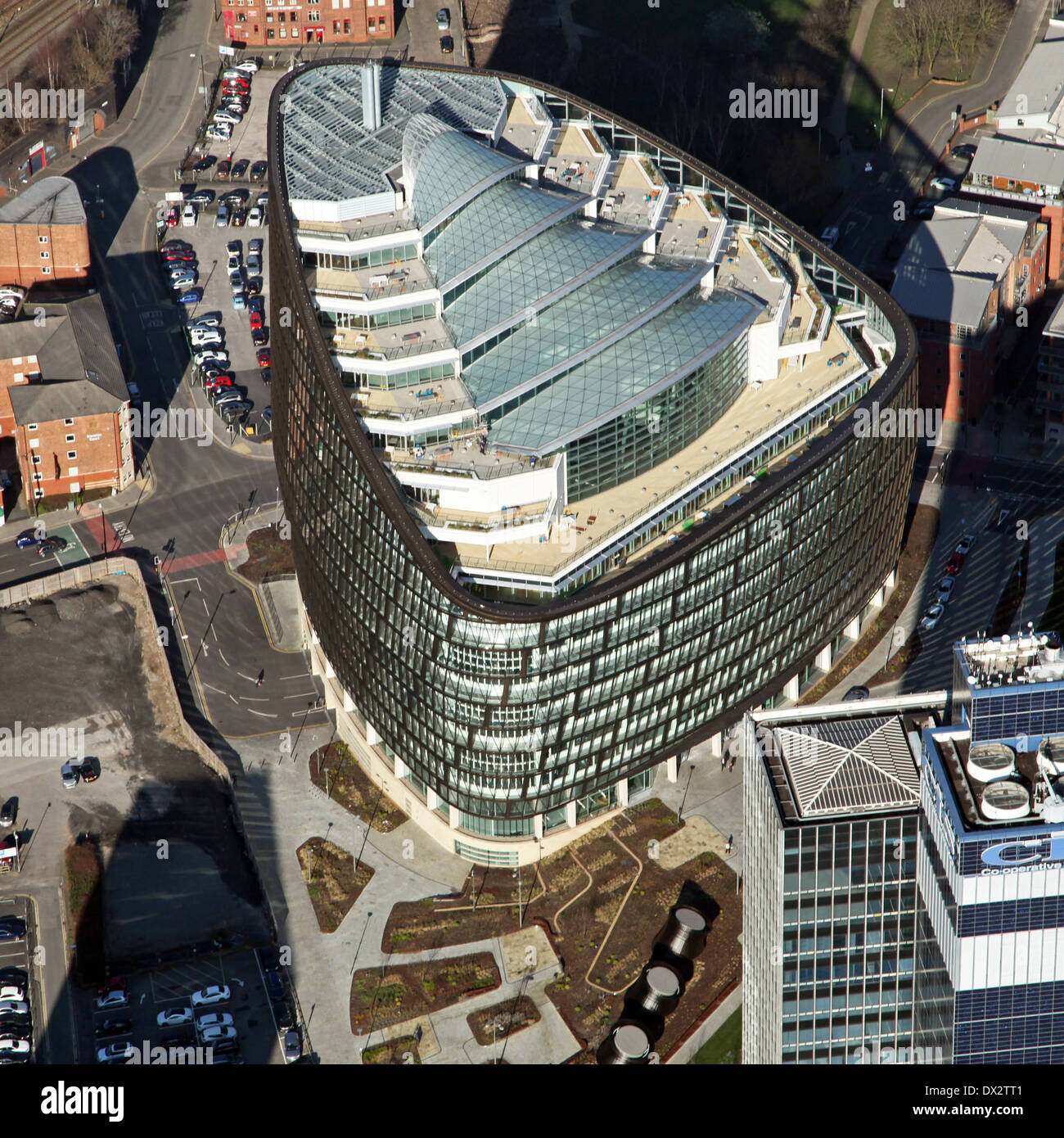 aerial view of One Angel Square, Manchester - headquarters of the CIS Cooperative Group, Co-op HQ - Stock Image