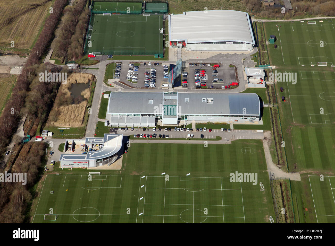 Aerial View Of Manchester United Football Training Ground At Stock Photo Alamy