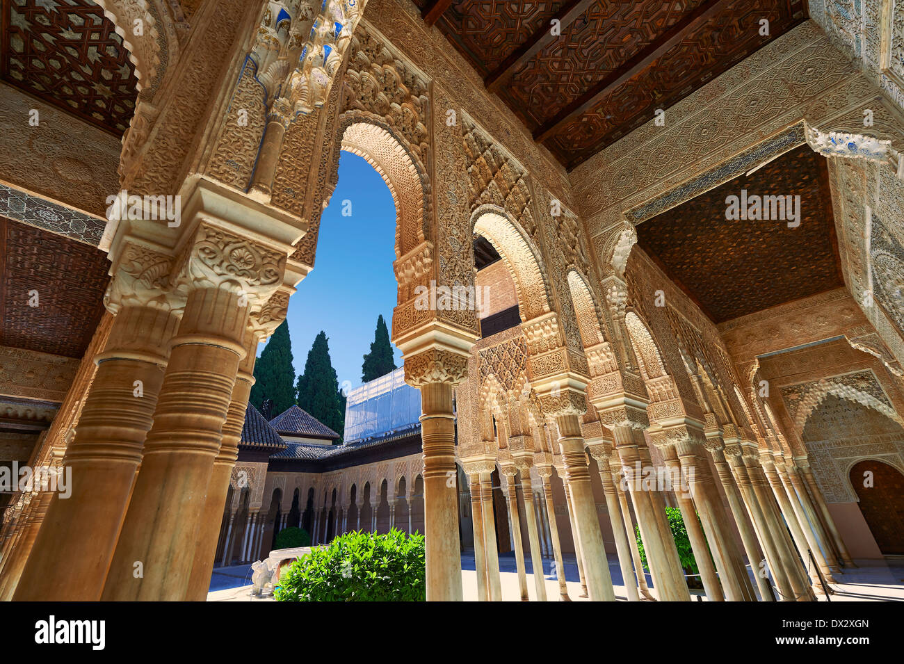 Arabesque Moorish architecture of the Patio de los Leones (Court of the Lions)   the Palacios Nazaries, Alhambra. Granada, Spain - Stock Image