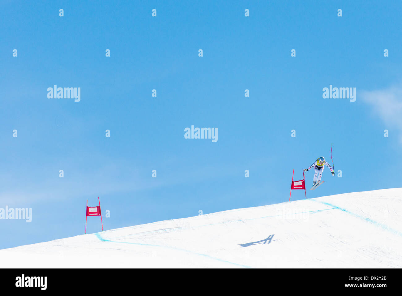 Europa Cup Downhill Ski Competition in Soldeu, Andorra - Stock Image