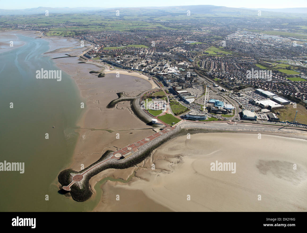 aerial view of Morecambe town and seafront, sea defences and beaches in Lancashire - Stock Image