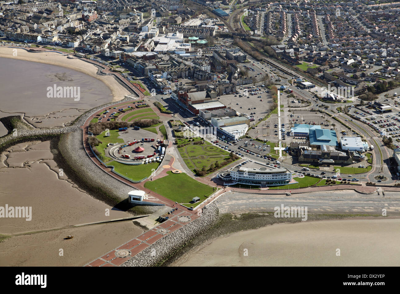 aerial view of Morecambe town, Morecambe Leisure Park, seafront and beaches in Lancashire - Stock Image